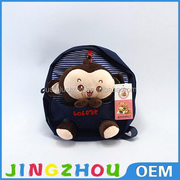 Cartoon animated stylish stuffed bear head double shoulder plush backpack toys and kids school backpack