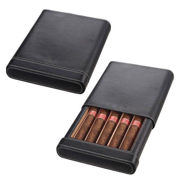 wholesale leather cigar case hold 5 cigars