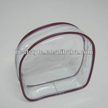 Rounded circular pvc travel pouch makeup bag