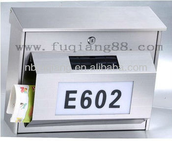 solar stainless steel household mailbox with led light