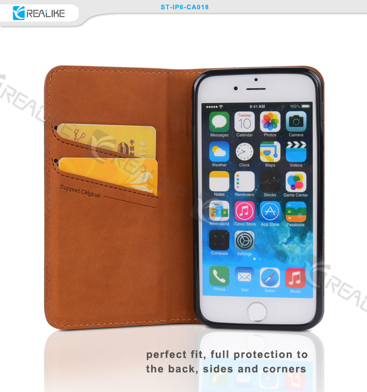 Flip cellphone leather cover pu leather wallet case cover for iphone 6 plus