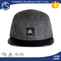Made in china unisex high quality wool leather strap 5 panel hats