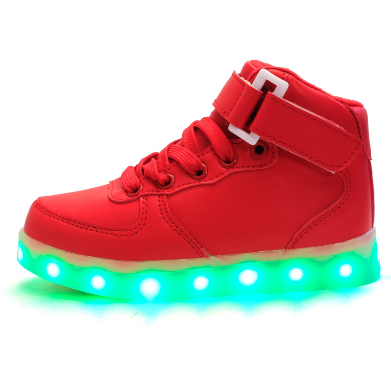 2016 new coming flashing lights Shoes High Top Lace Up PU Leather 7 Colors LED Light shoes white red and black led shoes