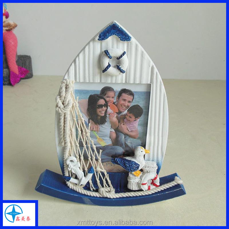 Nautical Theme Frame for Home,Resin White Ship Frame