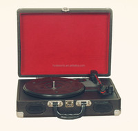 Antique retro suitcase gramophone&audio stereo belt driven bluetooth turntable player