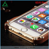 2016 Hot selling crashproof Natural Pure wood Case With Metal Frame Drop Resistance Case For iPhone 6s ,6 Plus