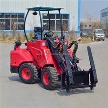 Mini shovel front end loader with foldable forklift for sale