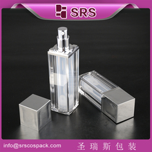 SRS airless pump bottle packaging and 30 ml airless bottle cosmetic squared bottle