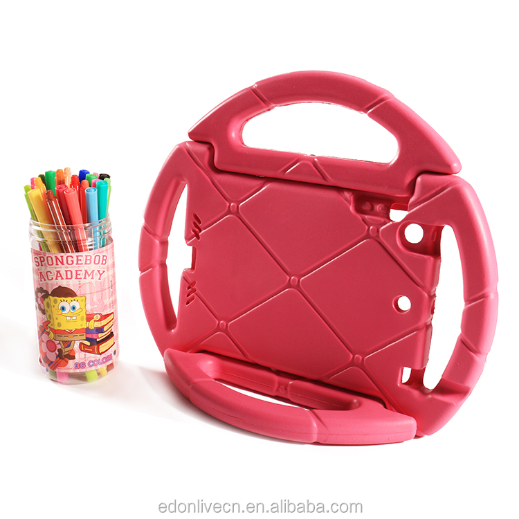 Steering wheel kids tablet cover with handle explosion proof case for ipad 234