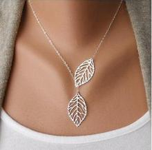 New Design Accessory Silver/Gold femme Collar Necklace Single Chain Double Hollow Leaf Pendant necklace For Party gifts