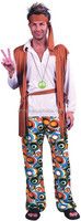 60's 70's Hippy Man Woodstock Mens Plus Size Fancy Dress Costume BM569