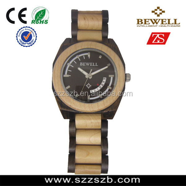 hot sale bewell wooden Watch maple and black sandal wood wns watchatch me