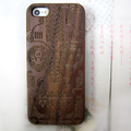 PC bottom engraved custom logo wood cover bamboo mobile case for iPhone 5/5S/SE