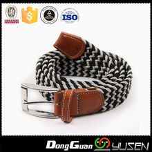 New arrival stripe weave elastic belt with pin buckle
