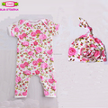 Children kids body suit Boy Sleep Night Sets pink floral pattern jumpsuit Design Your Own Bodysuit girls romper and knotted hats