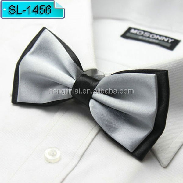 12*6cm grey color Micro fiber bow tie, polyester Fashion bowtie SL1456