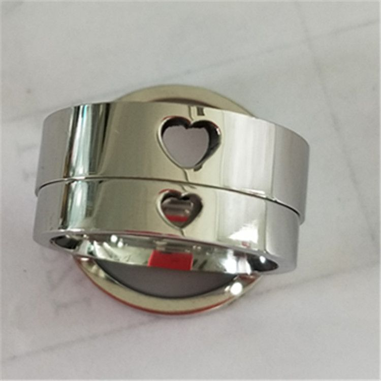 2019 Silver Plating Stainless Steel Titanium Hollow Heart Ring For Couple