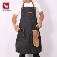 Best heavy mens duck canvas leather black apron with logo custom