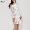 Fashion Floral Pleated Swing Mini Dress Summer Design With Tie Up Long Sleeves