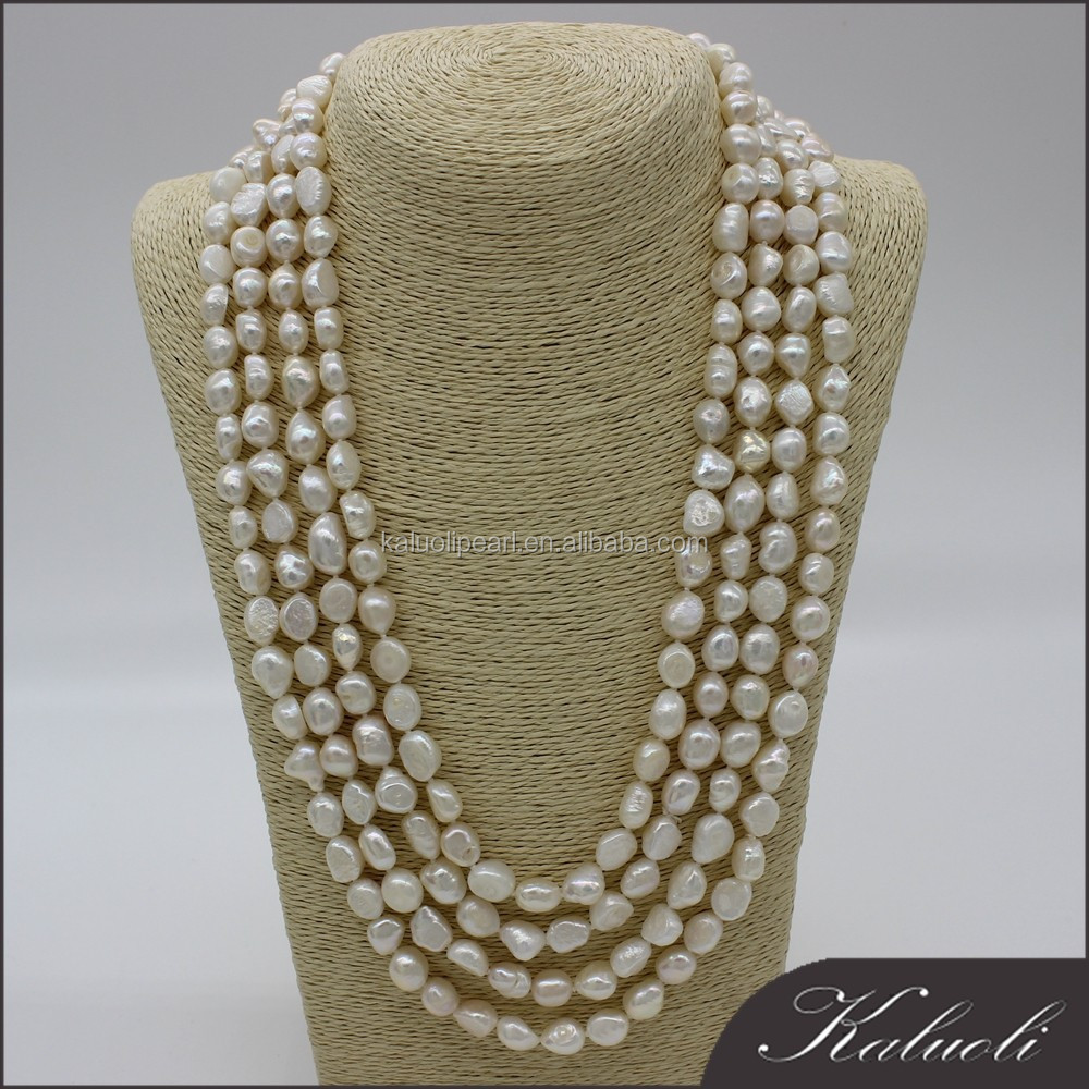Wholesale <strong>100</strong> inch 9-10 mm baroque natural white long pearl necklace