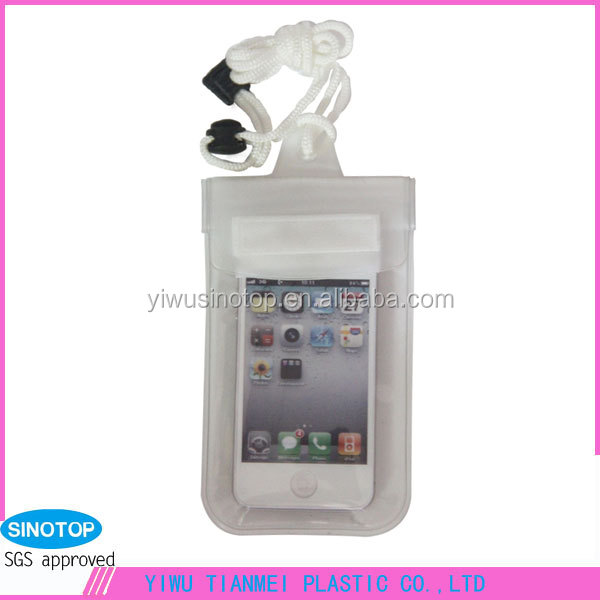 PVC camera mobile phone waterproof bags zipper wholesale clear white waterproof pouch dry case