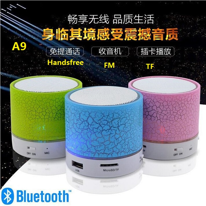 A9 colorful Led Portable Wireless Mini Bluetooth Speaker