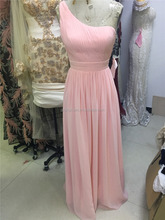 Pink Long Soft Chiffon Pleated Formal Gown One Shoulder Evening Party Bridesmaid Dresses