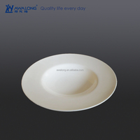 pure white plain fine bone china soup plate for restaurant and hotel