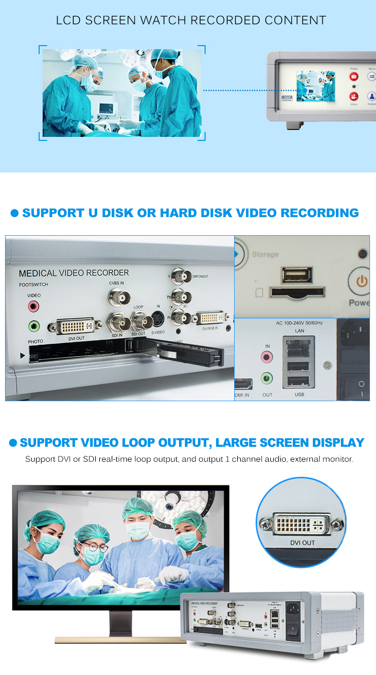 independent audio 1080P60 USB/HDD storage Arthroscope hdd medical video recorder