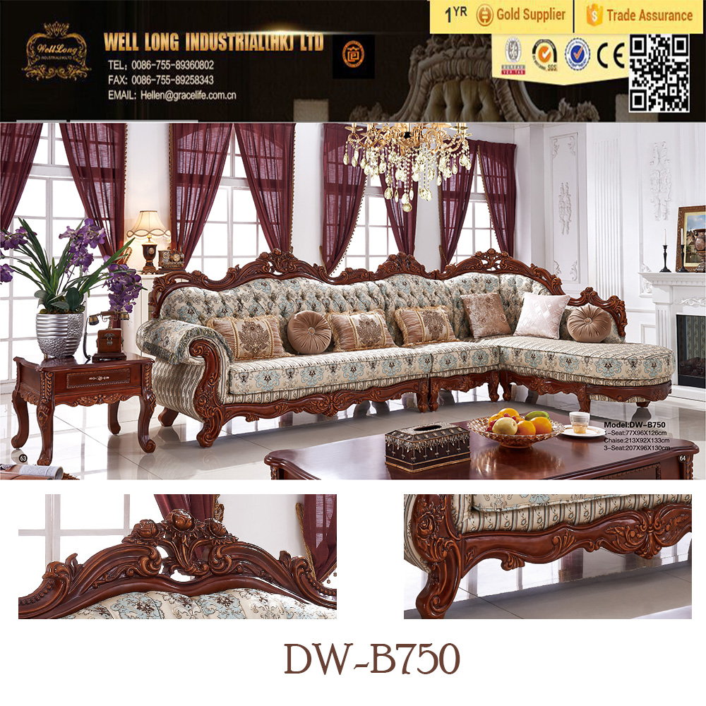 2016 top quality new style Antique Classic Fabric Chaise Lounge /corner sofa/ functional sofa