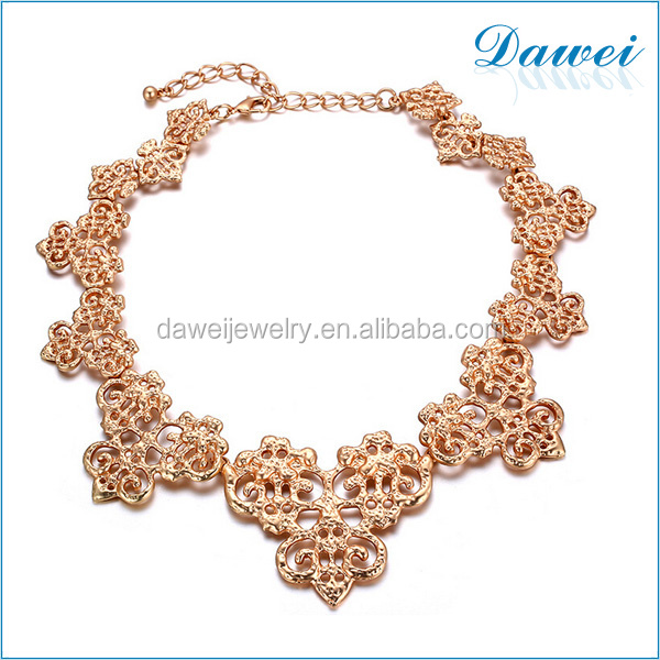 new design dubai 24k gold alloy collar statement necklace for party