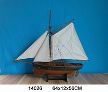 "Wooden fishing boat with sails, ""64x12x56cm"", Dark Brown 2 masts nautical ship model, replic vessel yacht model decorative craft"