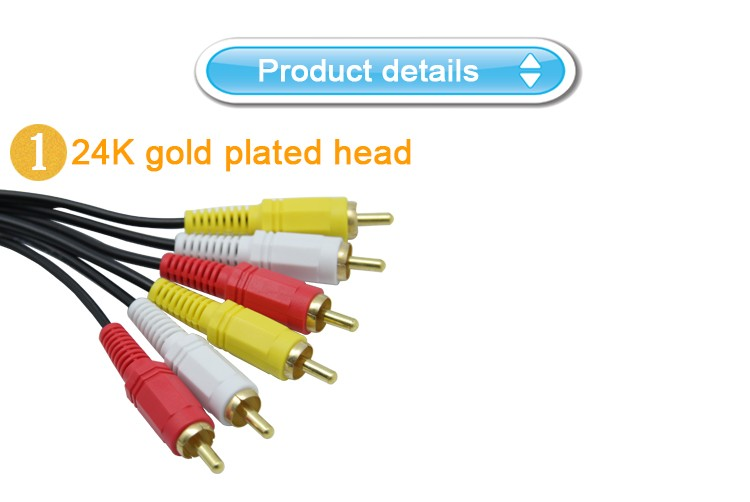 Customed gold plated rca connector opp bag 3 rca to 3 rca cable