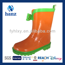 2014 new cute cheap girls bow orange kids wellies wellinton boots