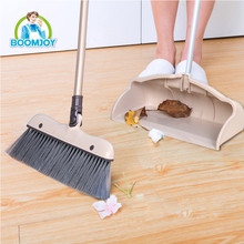 BOOMJOY HOUSE USE ALUMINIUM BROOM HANDLE PLASTIC BROOM AND DUSTPAN SET FOR CLEANING