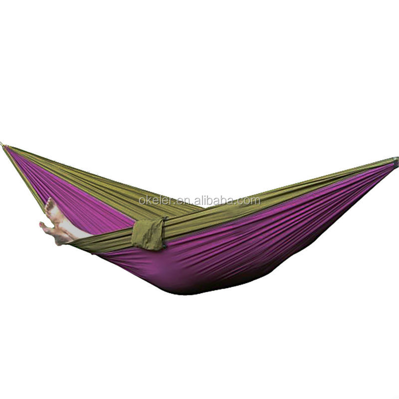 Two person portable make Parachute Nylon Fabric covered rocking garden hammock for Travel Camping