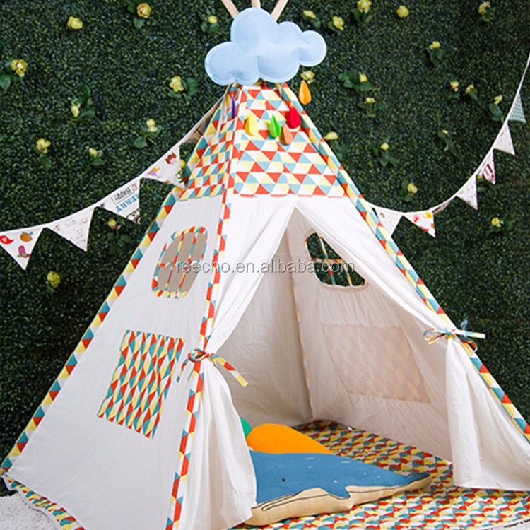 Hot Selling Windproof Outdoor Cotton Fabric Canvas Child Bed Teepee Tent