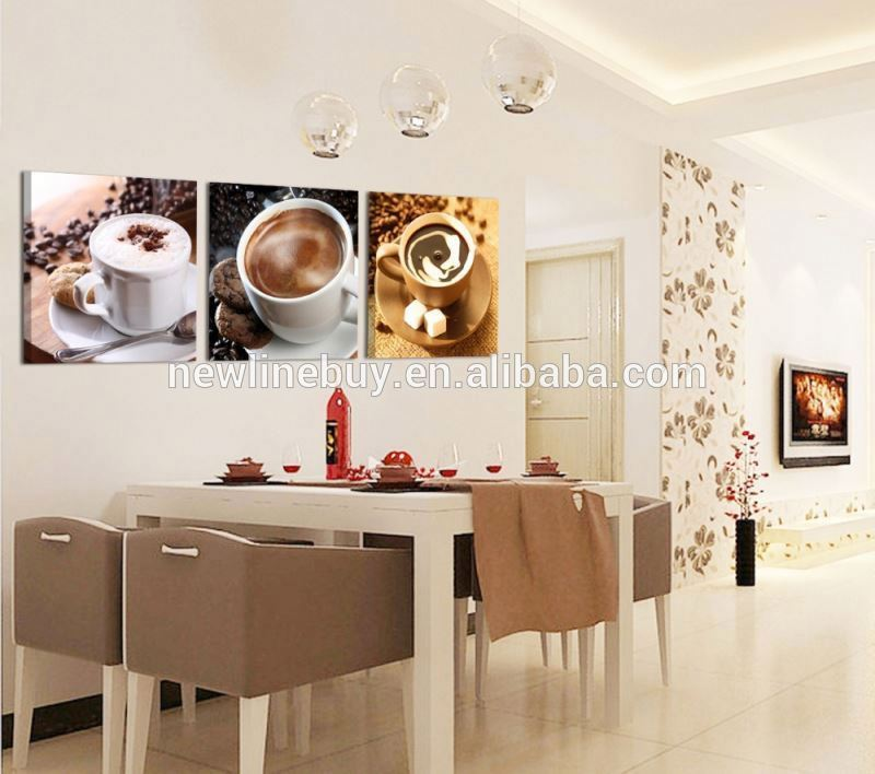 Free Shipping 3 Piece Wall Art picture Wall Picture Home Decor printed painting 3cups of coffee or tea for drink Modern Picture