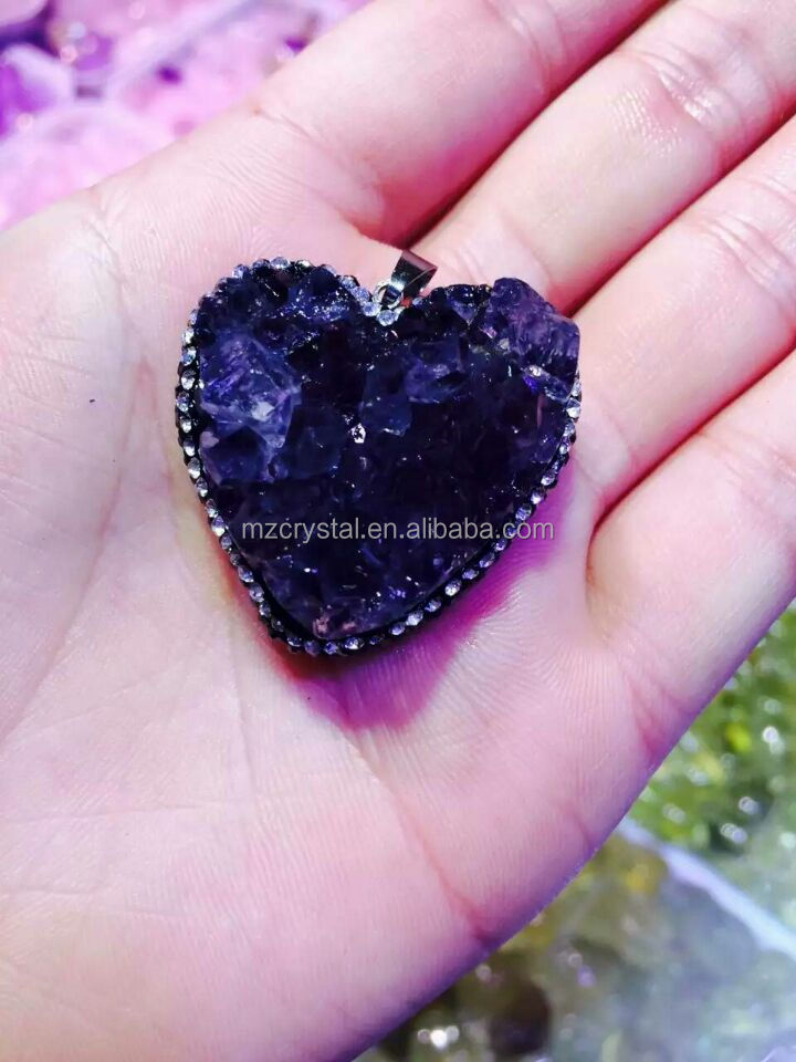Wholesale price Natural Amethyst Crystal Geode Cluster Pendant