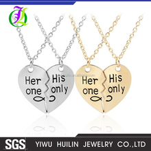 JTN 020 Yiwu Huilin Jewelry Latest Her one His Only Valentine's Day letter Necklaces Fashion Heart Couple necklace