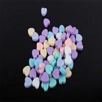 Lovely spring color heart shaped plastic beads for DIY jewelry