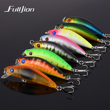 8PCS/LOT Fishing Lures Wobbler Hard Bait Minnow Tackle 3D Fish Eyes Hooks Diving Perch Fishing Accessory Bright Colorful 5.8cm