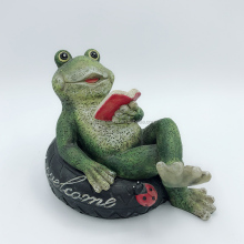 HAND-MADE CUSTOMIZED SIZE POLYRESIN READING FROG FIGURINE