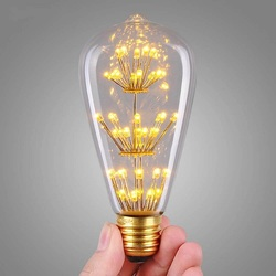 ST64 3W fireworks bulb led filament lamp E27 decorative color 3D edison light bulb for holiday home decoration