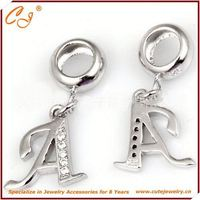 Girl Dairy Fairy Beading, Letter A Pendant Shape Silver Charm