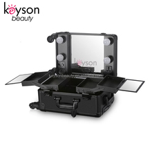 Keyson Portable Mobile Makeup Case Station on Wheels with Lighted Mirror