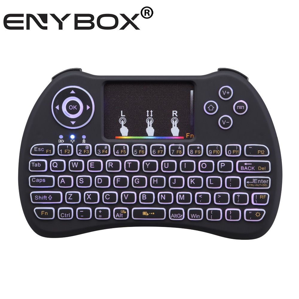 Newest Arrival I9 mini pro Backlit Mini Bluetooth Wireless Keyboard with Touchpad Mouse with Built-in Rechargeable Battery