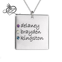 Stainless Steel Dad Dog Tag Pendant with 3 Personalized Birthstones