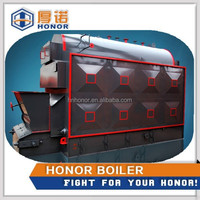 Horizontal steam boiler to generate electricity burning sugar cane