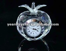 Arrival apple shape crystal glass desk clock for office gift clock(R-1223